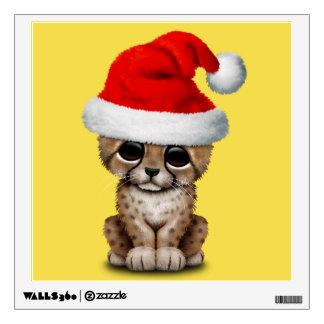 Cute Cheetah Cub Wearing a Santa Hat Wall Sticker