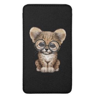 Cute Cheetah Cub Wearing Glasses on Black Galaxy S5 Pouch