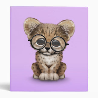Cute Cheetah Cub Wearing Glasses on Purple Binder
