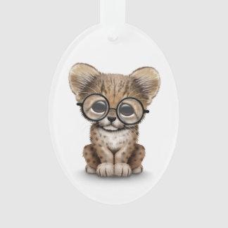 Cute Cheetah Cub Wearing Glasses on White Ornament