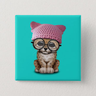 Cute Cheetah Cub Wearing Pussy Hat 2 Inch Square Button