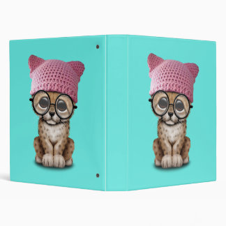 Cute Cheetah Cub Wearing Pussy Hat 3 Ring Binder