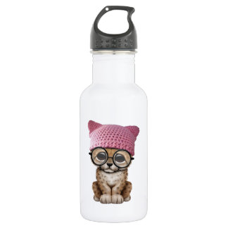 Cute Cheetah Cub Wearing Pussy Hat 532 Ml Water Bottle