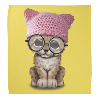 Cute Cheetah Cub Wearing Pussy Hat Bandana