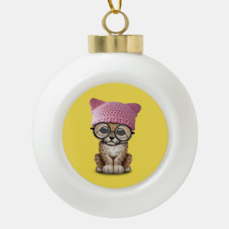 Cute Cheetah Cub Wearing Pussy Hat Ceramic Ball Christmas Ornament