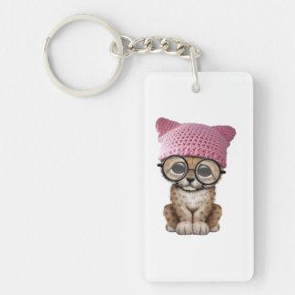 Cute Cheetah Cub Wearing Pussy Hat Double-Sided Rectangular Acrylic Keychain
