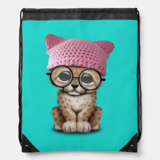 Cute Cheetah Cub Wearing Pussy Hat Drawstring Bag