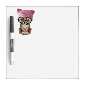 Cute Cheetah Cub Wearing Pussy Hat Dry Erase Board