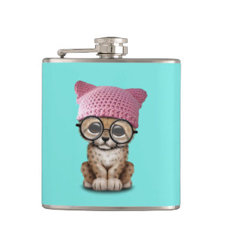 Cute Cheetah Cub Wearing Pussy Hat Flask