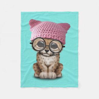 Cute Cheetah Cub Wearing Pussy Hat Fleece Blanket