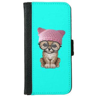 Cute Cheetah Cub Wearing Pussy Hat iPhone 6 Wallet Case