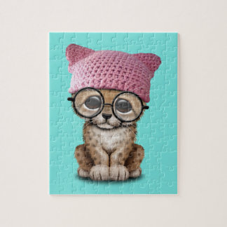 Cute Cheetah Cub Wearing Pussy Hat Jigsaw Puzzle