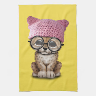 Cute Cheetah Cub Wearing Pussy Hat Kitchen Towel