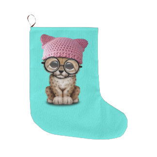 Cute Cheetah Cub Wearing Pussy Hat Large Christmas Stocking
