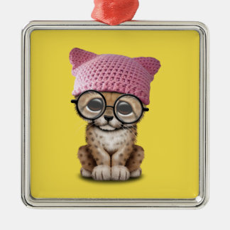 Cute Cheetah Cub Wearing Pussy Hat Metal Ornament