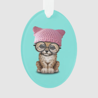Cute Cheetah Cub Wearing Pussy Hat Ornament