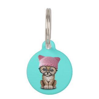 Cute Cheetah Cub Wearing Pussy Hat Pet ID Tag