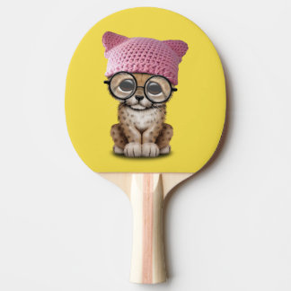 Cute Cheetah Cub Wearing Pussy Hat Ping Pong Paddle