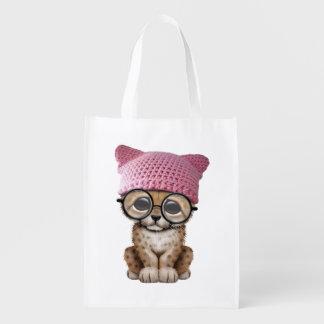 Cute Cheetah Cub Wearing Pussy Hat Reusable Grocery Bag