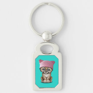 Cute Cheetah Cub Wearing Pussy Hat Silver-Colored Rectangle Keychain