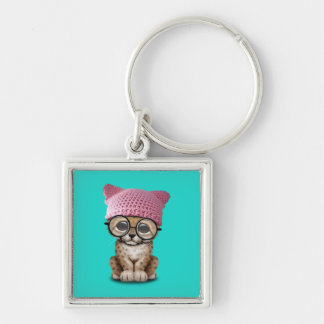 Cute Cheetah Cub Wearing Pussy Hat Silver-Colored Square Keychain