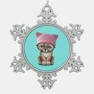 Cute Cheetah Cub Wearing Pussy Hat Snowflake Pewter Christmas Ornament