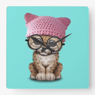 Cute Cheetah Cub Wearing Pussy Hat Square Wall Clock