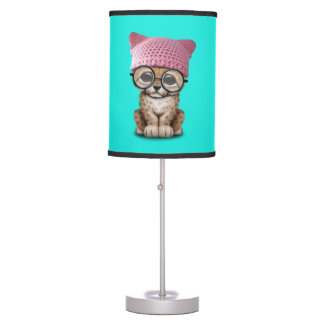 Cute Cheetah Cub Wearing Pussy Hat Table Lamp