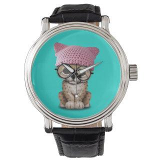 Cute Cheetah Cub Wearing Pussy Hat Watch