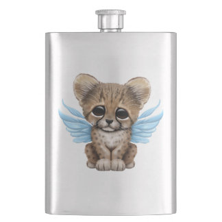 Cute Cheetah Cub with Fairy Wings on Blue Hip Flask