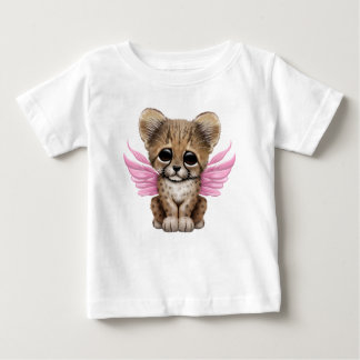 Cute Cheetah Cub with Fairy Wings on Pink Baby T-Shirt