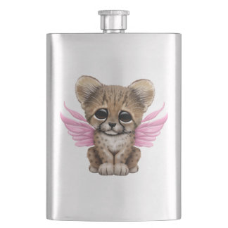 Cute Cheetah Cub with Fairy Wings on Pink Hip Flask