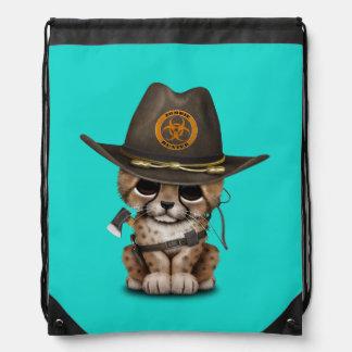 Cute Cheetah Cub Zombie Hunter Drawstring Bag