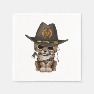 Cute Cheetah Cub Zombie Hunter Paper Napkin