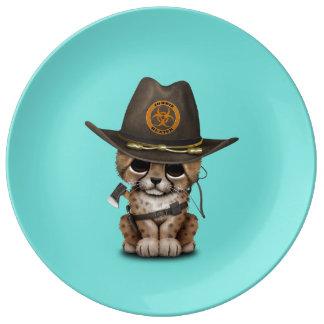 Cute Cheetah Cub Zombie Hunter Plate
