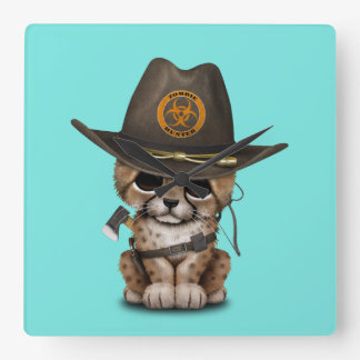 Cute Cheetah Cub Zombie Hunter Square Wall Clock