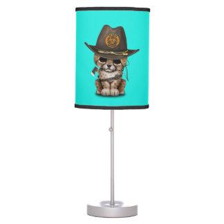 Cute Cheetah Cub Zombie Hunter Table Lamp