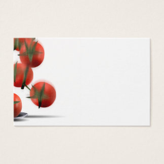 Cute chef box character catching tomatoes business card