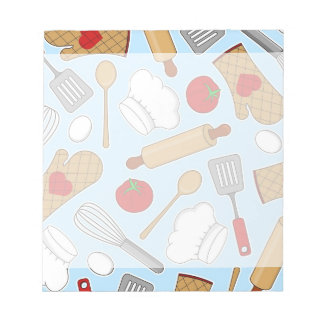 Cute Chef / Cook Love Pattern Blue Notepad
