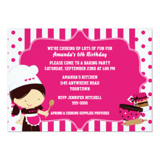 "Cute Chef Girl's Cooking Birthday Party 5"" X 7"" Invitation Card"