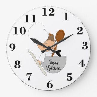 Cute Chef Large Clock