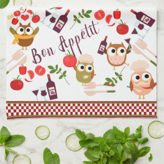 Cute Chef Owl with Wine Kitchen Towel
