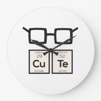 Cute chemical Element Nerd Glasses Zwp34 Large Clock