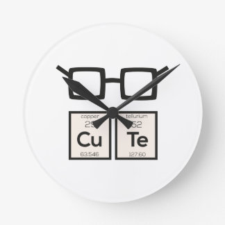 Cute chemical Element Nerd Glasses Zwp34 Round Clock