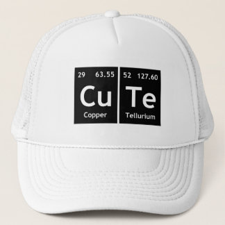 CuTe Chemistry Periodic Table Words Element Symbol Trucker Hat
