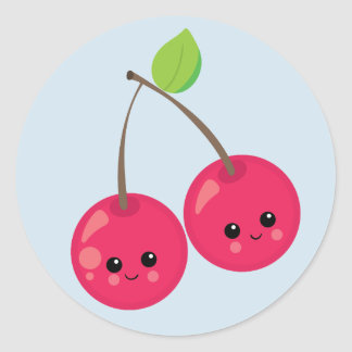 Cute Cherries on blue background Classic Round Sticker