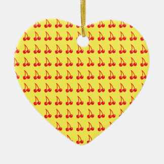 Cute cherries on yellow ceramic heart ornament
