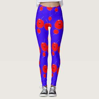 Cute Cherry And Blue Pattern Leggings