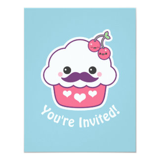 Cute Cherry Cupcake Birthday Party Invitations