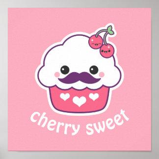 Cute Cherry Cupcake Poster